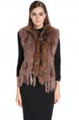 Low Price Real Knit Rabbit Fur Vest Gilet with Raccoon Fur Collar Waistcoat Hot