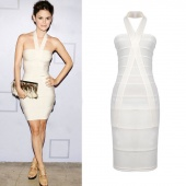 Women's Sexy Style Sleeveless White Ladies Party Evening Dress