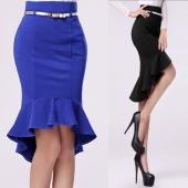 Women Fashion Slim Back Zipper Knee-Length Mermaid Skirt Black/Blue with Belt