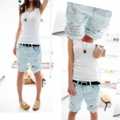 Summer Hole Beggar Pants Denim Shorts Pants Large Size Women 4 Sizes