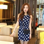 Women's Fashion Dress O-neck Slim Sleeveless Casual Polka Dots Print Chiffon Dress