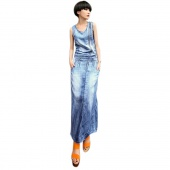 Vintage Women Slim Denim Jean Pocket Back Split Sleeveless Maxi Dress