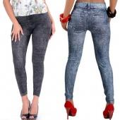 Fashion Women's Sexy Close-fitting Imitated Denim Jean Leggings