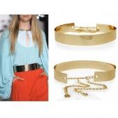 Women Full Golden Metal Mirror Waist Belt Metallic Plate Wide with Chains
