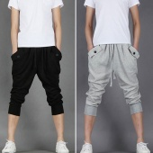 Mens Casual Baggy Sweat Sport Harem Shorts Cropped Trousers Pants Solid
