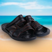 Male Sandals Casual Leatherette Male Slippers Men's Beach Shoes Sandals 1 Size Black