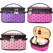 Pro Lace Trim Dot Pattern Portable Mirror Cosmetic MAKEUP Hand Case Bag 3 Style