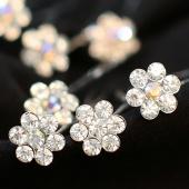 20PCS Clear Crystal Flower Diamante Wedding Bridal Prom Hair Pins