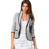 Fashion Blazer Women Spring Slim Design Short Gray Blazer Jackets Coat