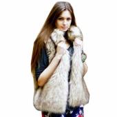 Fashion Women's Faux Fur Vest Medium Long Stand Collar Coat Vest