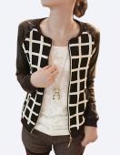 Women Synthetic Leather Stitching round Neck Short Coat Jacket Plaid Jacket