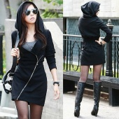 European Sexy Women's Black Hooded Long Sleeve Slim Zipper Work Wear Tops Dress