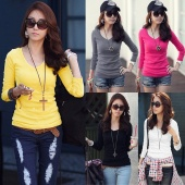 Solid Color V-neck Top Long-sleeved Casual Women T-shirt Fashion Ladies Blouse