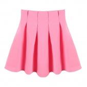 Autumn Spring Women High Waist Pleated Skirt Flared Frilled Skirt