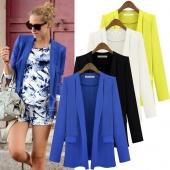 Fashion Women OL Solid Slim Fold Sleeve Suit Blazer Coat Jacket S-L