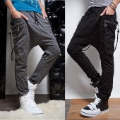 Men Drawstring Stretchy Waist Baggy Pockets Casual Trousers Sports Pants