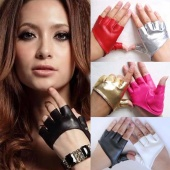 Fahison Ladies Synthetic Leather Gloves Jazz Dancing Fingerless Gloves