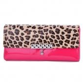 Women Money Wallet Leopard Splice Colors Pockets Wallet Cards ID Purse Clutch