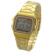 Gold & Silver Couple Watch Electronic Digital Clock with Led Light Clock