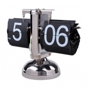 Retro Flip Down Clock - Internal Gear Operated Retro Modern Metal Scale Digital Auto Flip Single Stand Metal Desk Table Clock