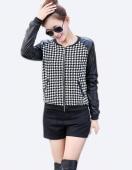 Women Synthetic Leather Stitching round Neck Short Coat Jacket Houndstooth Jacket
