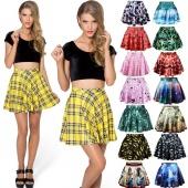 Fashion Women's Girl's Sexy Stylish Pattern Print Elastic Waist Skirt Dress 15 Colors