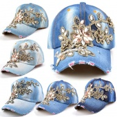 Fashion Adjustable Baseball Cap Leisure Rhinestones Flowers Jean Baseball Hat Cap for Women