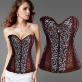 Women's Gorgeous Lace Up Lingerie Floral Corset Bustier Shaper Corset Shapewear with G-string