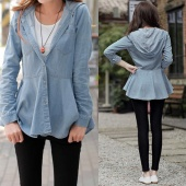 Women Girl Blue Hooded Outerwear Jacket Jean Shirt Blouse