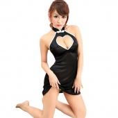 Sexy Black Babydoll Cheongsam Nightwear Lingerie Mini Dress Sleepwear