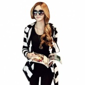 Fashion Sexy Women's Girl Loose Striped Coat Jacket Long Cardigan Hooded Hoodie Top