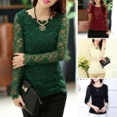 Korean Fashion Women's Floral Tops Long Sleeve Shirt Lace Blouse