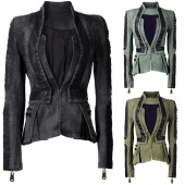 Women Denim Synthetic Leather Contrast Zip Sleeves Pleated Tuxedo Top Jacket Blazer