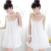 Pregnant Women Summer Maternity Dress Sequins Doll Collar Sleeveless Chiffon Dress White