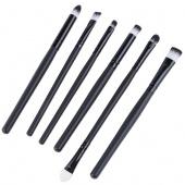 6 PCS Makeup Cosmetic Brushes Powder Eye Shadow Lipstick Liner Brush Set Kit Black