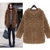 Women's High Quality Zip Front Autumn Winter Fashion Faux Fur Elegant Middle Long Overcoat Jacket Coat