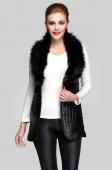 Women's Long Vest Faux Fur Collar Synthetic Leather Waistcoat Jacket
