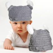 Children Infant Handmade Crochet Winter Hat Viking Horns Hat Knitted Hat