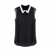 Fahison Women's Girl Sleeveless Doll Lapel Blouse Shirt