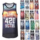 Men Outdoor Sport Printed Vest Basketball Mesh Tank Top Male Sleeveless T-shirt