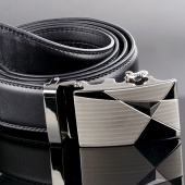 Fashion Synthetic Leather Mens Black Alloy Automatic Buckle Waist Strap Belts