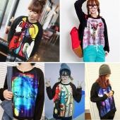 Japan Style Women's Top Coat Long Sleeve T-shirt Carton Graffiti Print