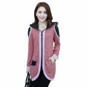 Fashion Women's Casual Patch Decorate Long Sleeve Splicing Knit Trench Coat Jacket Outwear Swallowtail Suit