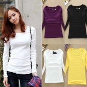 Casual Fall Women's round Collar Long Sleeve Pullovers T-shirt Tops