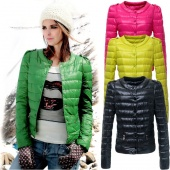 Women's round Neck Candy Color Winter Down Short Coat Jacket 4 Colors