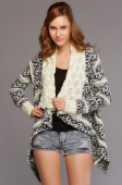 Retro Geometric Pattern Scarf Bubble Collar Irregular Cardigan Sweater Knit Coat
