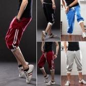 Men's Elastic Rib Drawstring Waist Pocket Sport Pants