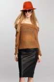Women's Retro Chunky Off the Shoulder Sweater Knitted Pullover Knitwear Jumper Winter Tops