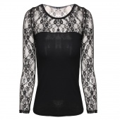 Women's Long Sleeve Sheer Lace Trim Sexy Slim Casual Bottoming T-Shirt Blouse Tops Shirt