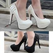 Lady Classic Inner Platform Chunk High Heel Pump Wedding Evening Dress Shoes